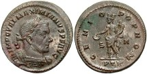 Ancient Coins - Maximianus. Second reign, A.D. 307-308. Æ follis. Trier, under Maxentius. Near EF, traces of silvering.