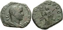 Ancient Coins - Volusian. A.D. 251-253. Æ sestertius. Rome. VF, green patina.