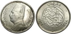 World Coins - Egypt. Fuad I. AH 1348 (1929). 2 piastres. Unc., one-year type.