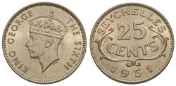 World Coins - Seychelles. George VI. 1951. 25 cents. Gem BU.