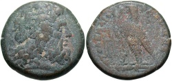 Ancient Coins - Ptolemaic Kingdom. Ptolemy III Euergetes. 246-222 B.C. Æ. Uncertain mint. Near VF, brown patina with blue-green overtones. Rare.