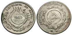 World Coins - Costa Rica. 1923 over 1887. 50 centimos. Counterstamped issue. Unc, c/s applied to a VF 25 centavos dated 1887, KM 127.2.