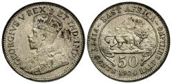 World Coins - East Africa. 1924. 50 Cents. Choice AU.