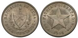 World Coins - Cuba. 1915. 10 centavos. Choice Unc., cartwheel luster.