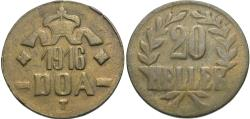 World Coins - German East Africa. 1916-T. 20 heller. Choice VF.