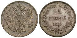 World Coins - Finland, under Russia. Nicholas II. 1915. 25 pennia. Choice Unc., nicely toned.