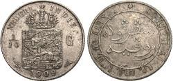 World Coins - Netherlands East Indies. Wilhelmina. 1909-(u). 1/10 gulden. AU.