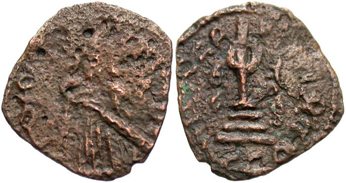 World Coins - Arab-Byzantine. Æ fals. Good Fine, brown patina, rough.