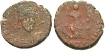 Ancient Coins - Arcadius. A.D. 383-408. Æ. Antioch. Near VF, brown patina.