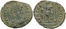 Ancient Coins - Gratian. A.D. 367-383. Æ. Antioch. VF, green earthen patina.