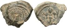 Ancient Coins - Justinian I. A.D. 527-565. PB Imperial seal. VF, sandy gray patina.