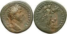 Ancient Coins - Marcus Aurelius. A.D. 161-180. Æ sestertius. Rome, A.D. 163-164. Good Fine, brown patina, rough surfaces.
