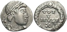 Ancient Coins - Jovian. A.D. 363-364. AR '1/2 siliqua'. Nicomedia. VF, clipped, cleaning scratches.