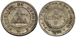 World Coins - Honduras. 1896/86. 5 centavos. EF, toned. Rare overdate.