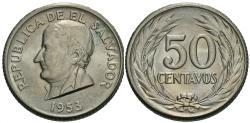 World Coins - El Salvador. 1953. 50 centavos. BU, one-year type.