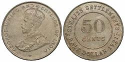World Coins - Straits Settlements. George V. 1921. 50 cents. Unc., rusty obverse die.