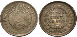 World Coins - Bolivia. 1884-FE. 5 centavos. Unc., typical weak strike along the peripheries.
