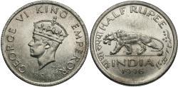 World Coins - British India. George VI. 1946-(b). 1/2 rupee. Choice BU.
