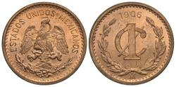World Coins - Mexico, United States of Mexico. 1906 (wide date). 1 centavo. BU.