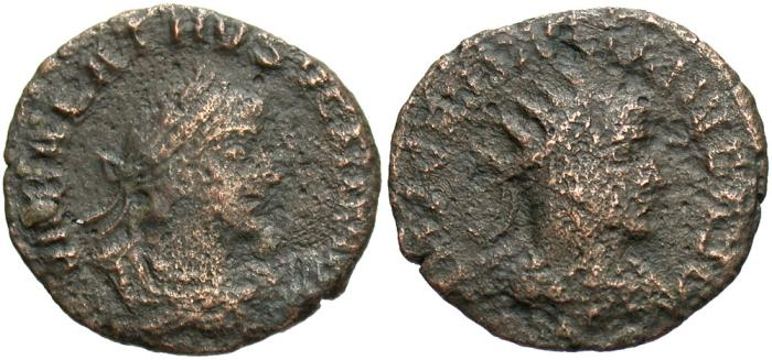 Ancient Coins - Aurelian, with Vaballathus. A.D. 270-275. Æ aurelianianus. Antioch. Good Fine.