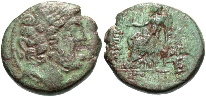 Ancient Coins - Syria, Seleucis and Pieria. Antiochia ad Orontem. Civic issue. 1st century B.C. Æ tetrachalkon. Year 13 of the Caesarean Era (37/6 B.C.). Near VF, green patina, some rough areas.