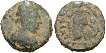 Ancient Coins - Johannes. A.D. 423-425. Æ nummus. Rome. Fine, green-brown patina. Scarce.