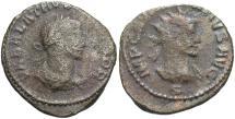 Ancient Coins - Aurelian, with Vaballathus. A.D. 270-275. Æ aurelianianus. Antioch. Fine.