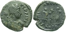 Ancient Coins - Honorius. A.D. 393-423. Æ 15 mm. Antioch, A.D. 406-408. Good Fine, black patina.