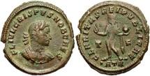 Ancient Coins - Crispus. Caesar, A.D. 317-326. Æ follis. Treveri, A.D. 317. VF, brown patina with light earthen deposits. Rare issue commemorating the elevation of Crispus as Caesar.