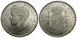 World Coins - Spain. Alfonso XIII. 1898 (98)-SG V. 5 pesetas. Choice BU, typical light friction marks.