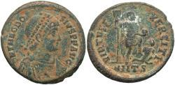 Ancient Coins - Theodosius I. A.D. 379-395. Æ. Antioch. VF, earthen deposits.
