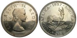 World Coins - South Africa. Elizabeth II. 1957. 5 shillings. Proof Unc.