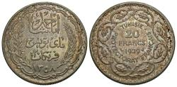 World Coins - Tunisia. Ahmad Pasha Bey. 1358/1939. 20 francs. Choice Unc., attractively toned.