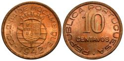 World Coins - Mozambique. 1942. 10 centavos. BU, red.