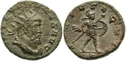 Ancient Coins - Postumus. Romano-Gallic Emperor, A.D. 260-269. BI double denarius. Mediolanum, under Aureolus, A.D. 268. Good VF, brown patina, pitting.