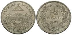 World Coins - Honduras. 1869-A. 1/2 real. Unc.