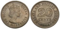 World Coins - Malaya & British Borneo. Elizabeth II. 1961-H. 20 cents. Choice AU, lustrous.
