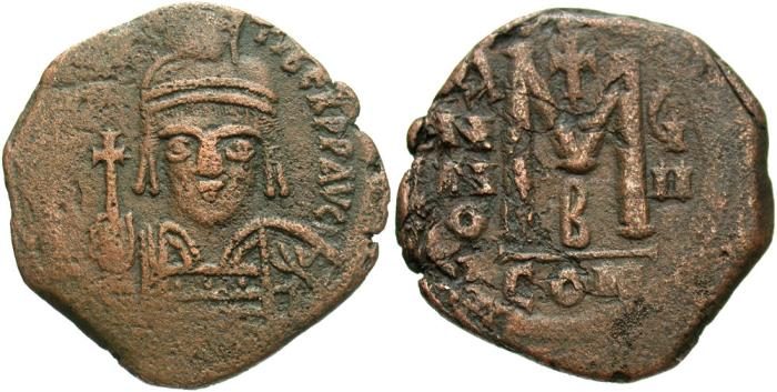 Ancient Coins - Maurice Tiberius. 582-602. Æ follis. Constantinople, regnal year 8 (589/90). VF, brown surfaces.