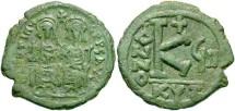 Ancient Coins - Justin II. 565-578. Æ 1/2 follis. Cyzicus, regnal year 8 (572/3). Choice VF, attractive green patina with very minor deposits on obverse.
