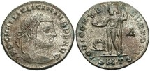 Ancient Coins - Licinius I. A.D. 308-324. Æ follis. Thessalonica, ca. A.D. 312 or earlier. Near EF, silvered.