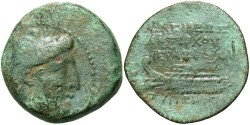 Ancient Coins - Seleukid Kingdom. Antiochos VII Euergetes. 138-129 B.C. Æ. Tyre, S.E. 177 (136/5 B.C.). Nearly VF, green patina, porosity, obverse off center. Scarce quasi-municipal type.