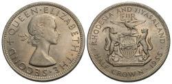 World Coins - Rhodesia and Nyasaland. Elizabeth II. 1955. 1/2 crown. Choice BU.