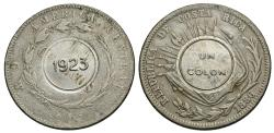 World Coins - Costa Rica. 1923 over 1886. 1 colon. Counterstamped issue. EF, c/s applied to a Fine 50 centavos dated 1886, KM 124.