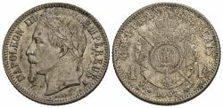 World Coins - France, Second Empire. Napoleon III. 1867-A. 1 franc. AU, light toning with strong underlying luster.