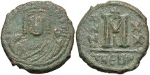 Ancient Coins - Maurice Tiberius. 582-602. Æ follis. Antioch (Theoupolis). Good Fine, dusty green patina.