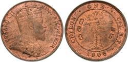 World Coins - Ceylon. Edward VII. 1906. 1 cent. Unc., soft obverse strike.