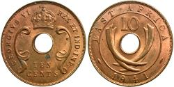 World Coins - East Africa. George VI. 1941-I. 10 cents. Unc., red.