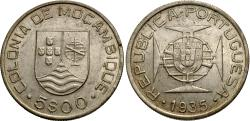 World Coins - Mozambique. 1935. 5 escudos. AU, scarce one-year type.