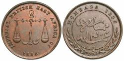 World Coins - Mombasa. AH 1306//1888-CM. 1 pice. Unc., red and brown.