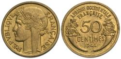 World Coins - French West Africa. 1944-(L). 50 centimes. Choice AU, one-year type.